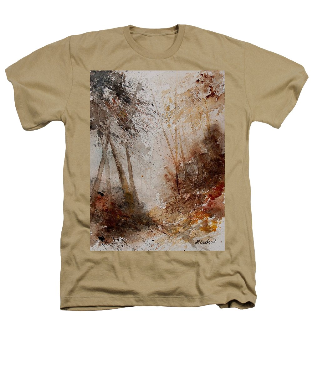 Landscape Heathers T-Shirt featuring the painting Watercolor Misty Path by Pol Ledent