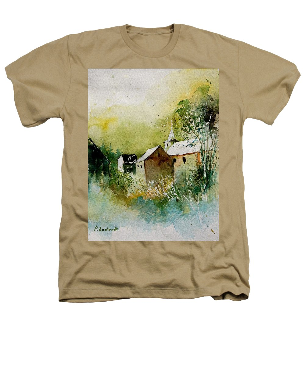 Landscape Heathers T-Shirt featuring the painting Watercolor Sosoye by Pol Ledent