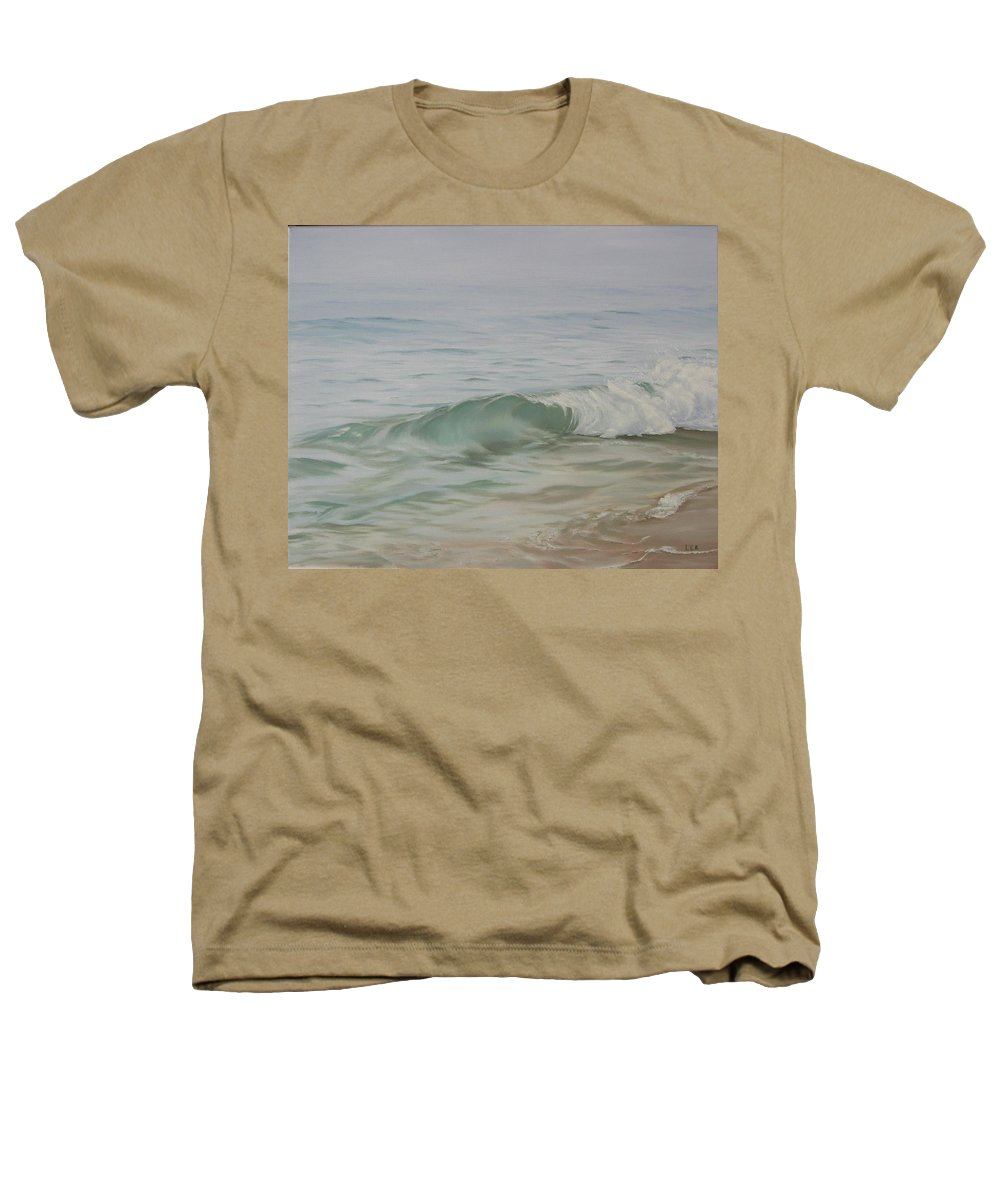 Seascape Heathers T-Shirt featuring the painting Waves Out Of The Fog by Lea Novak
