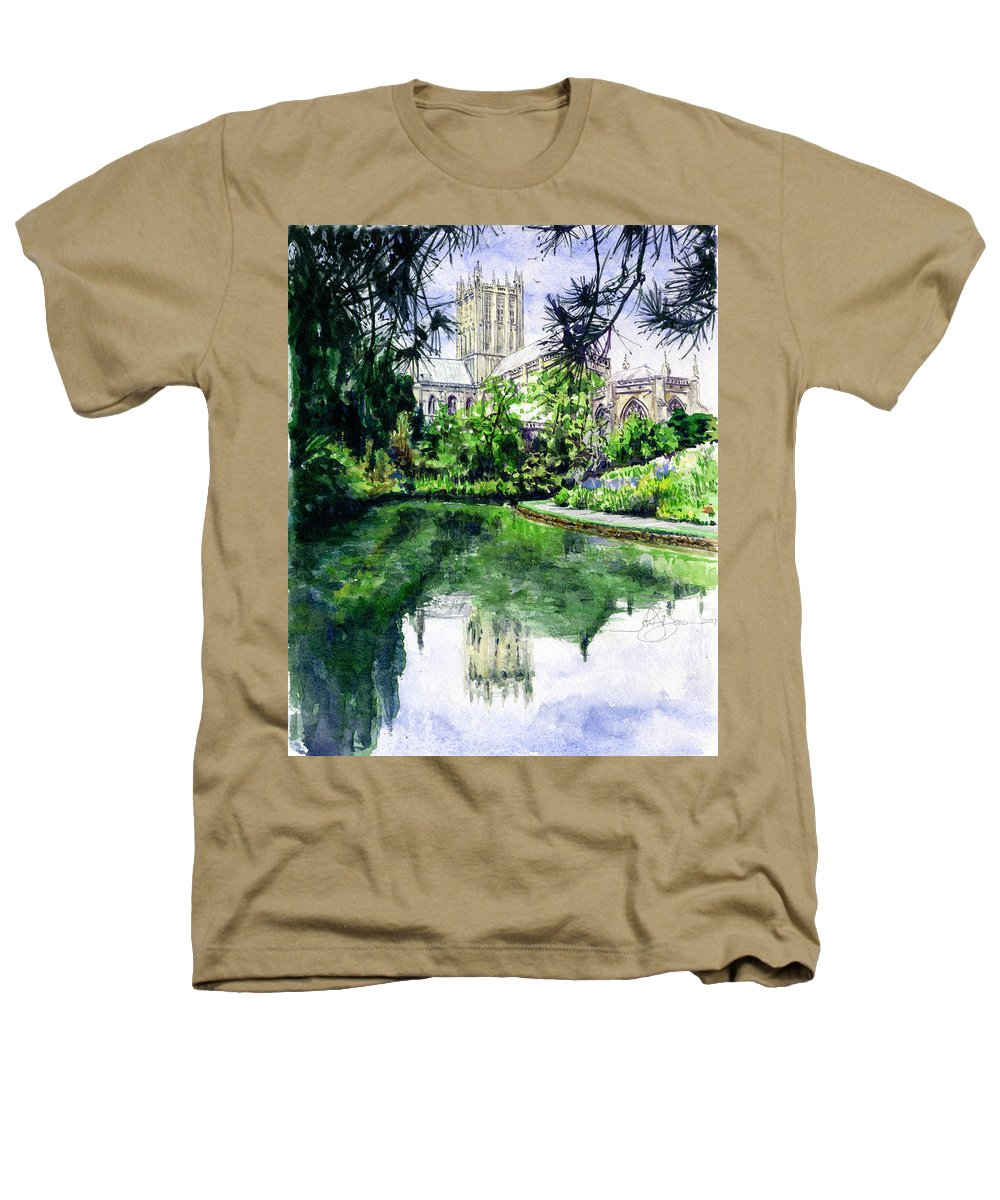 Wells Heathers T-Shirt featuring the painting Wells Cathedral by John D Benson