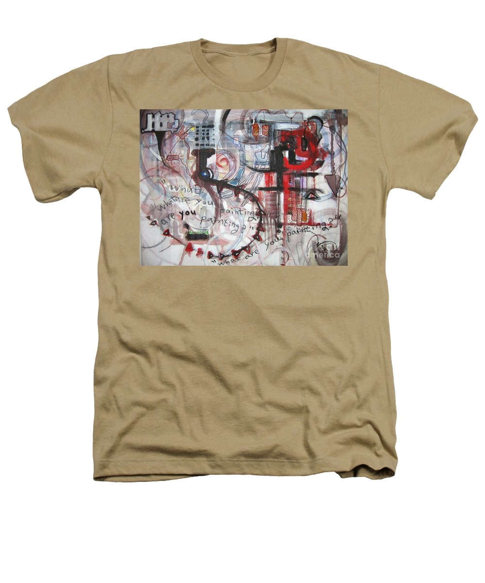 Abstract Paintings Heathers T-Shirt featuring the painting What Are You Painting-red And Brown Painting by Seon-Jeong Kim