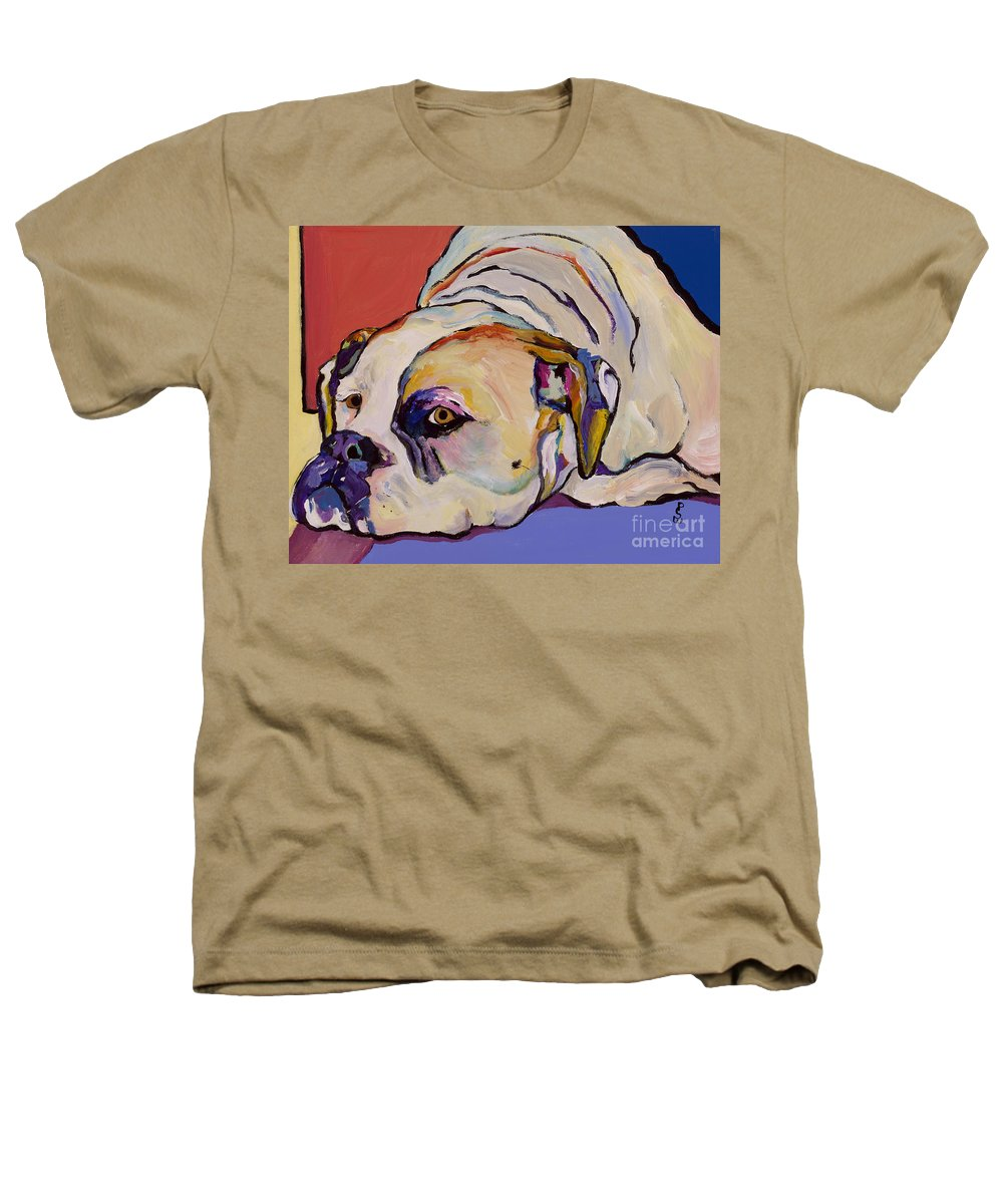 American Bulldog Heathers T-Shirt featuring the painting Where Is My Dinner by Pat Saunders-White