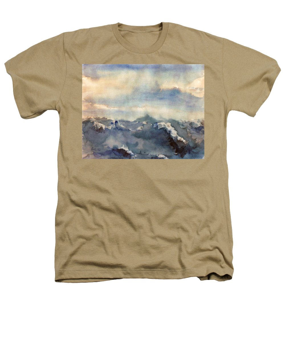 Seascape Heathers T-Shirt featuring the painting Where Sky Meets Ocean by Steve Karol