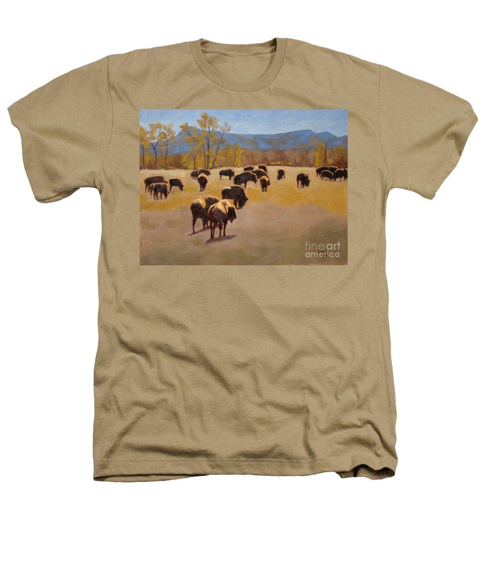 Buffalo Heathers T-Shirt featuring the painting Where The Buffalo Roam by Tate Hamilton