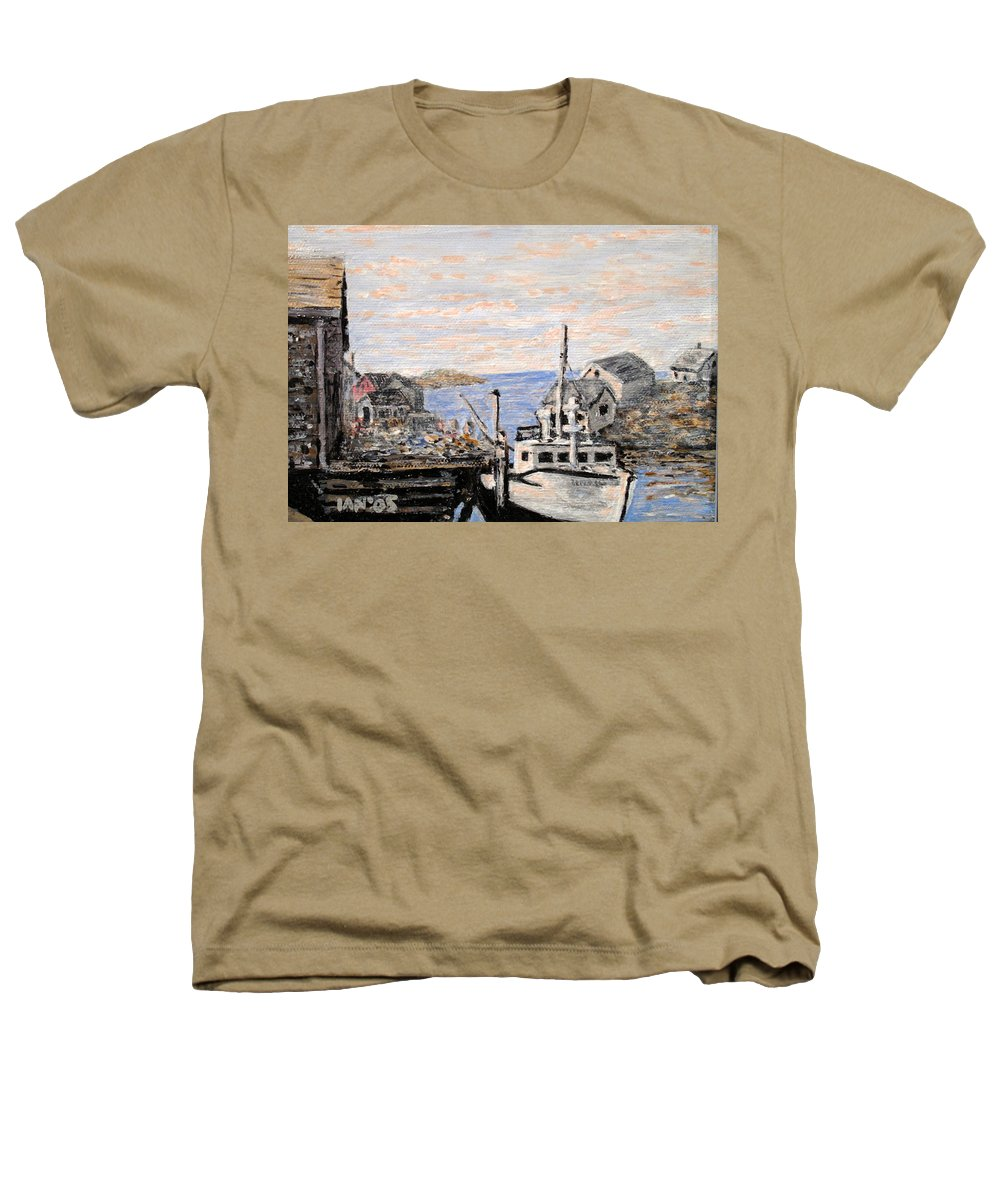 White Heathers T-Shirt featuring the painting White Boat In Peggys Cove Nova Scotia by Ian MacDonald