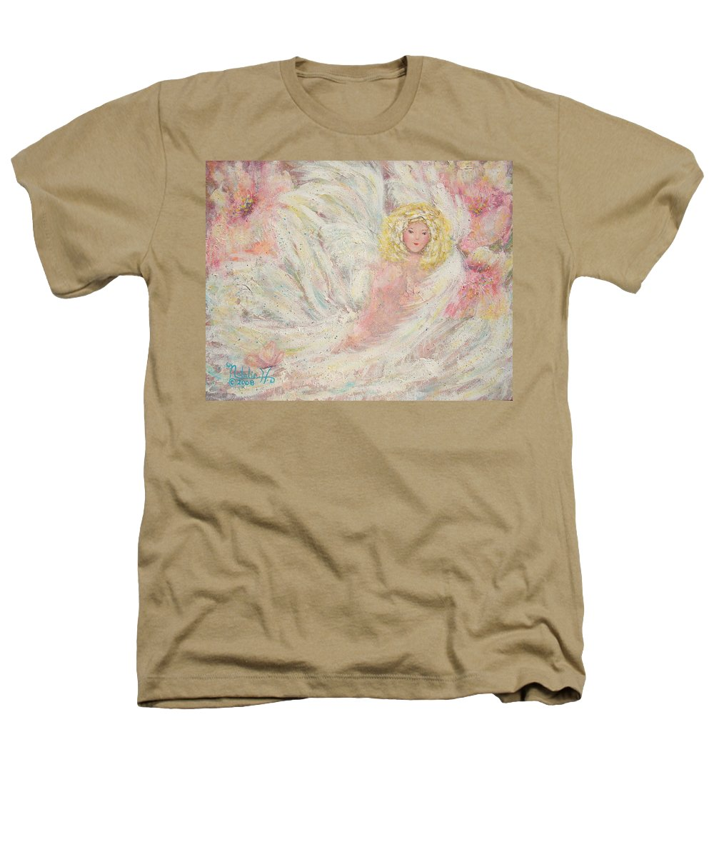 Angel Heathers T-Shirt featuring the painting White Feathers Secret Garden Angel 4 by Natalie Holland