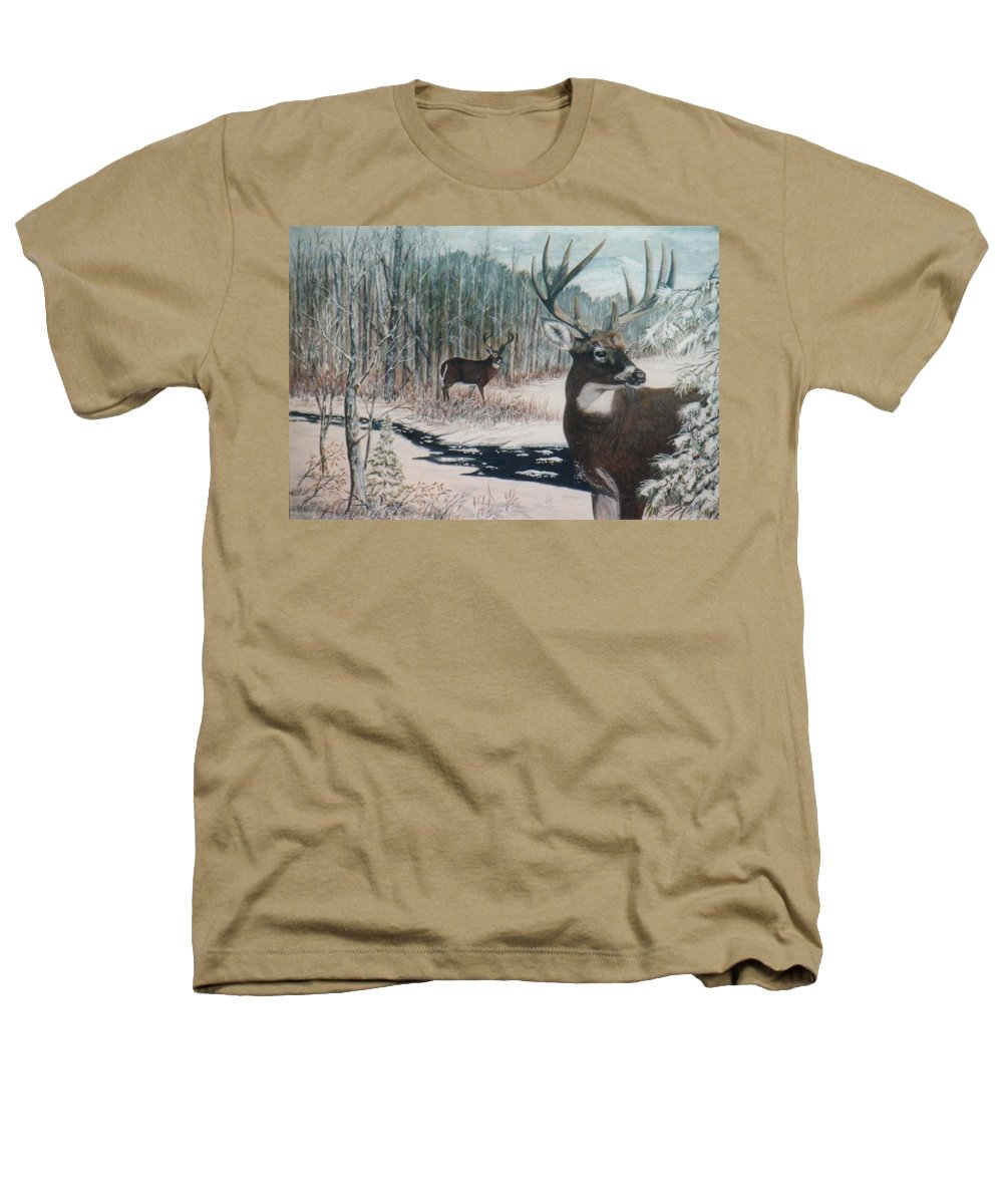 Deer; Snow; Creek Heathers T-Shirt featuring the painting Whitetail Deer by Ben Kiger