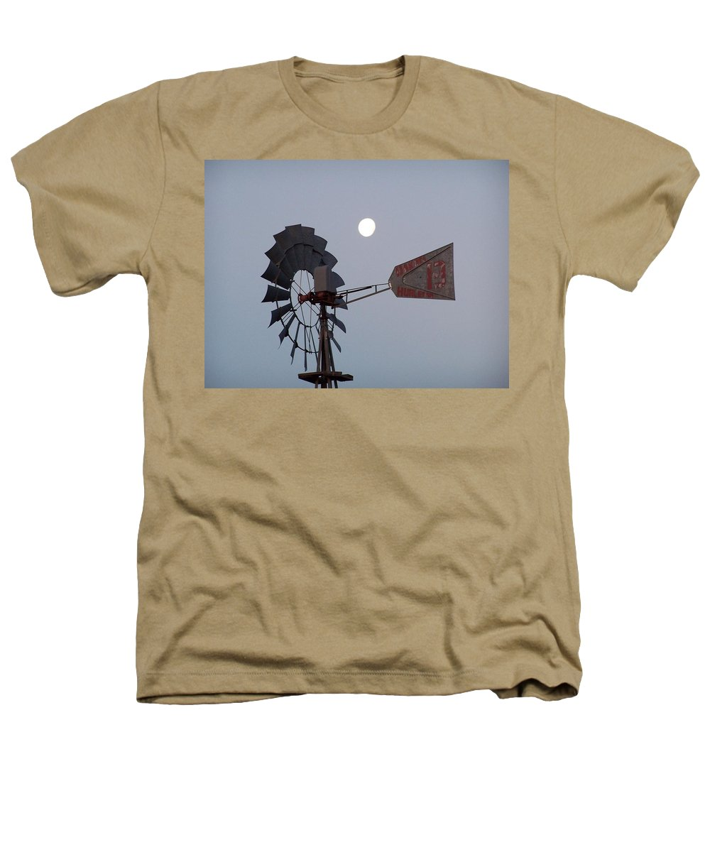 Windmill Heathers T-Shirt featuring the photograph Windmill Moon by Gale Cochran-Smith