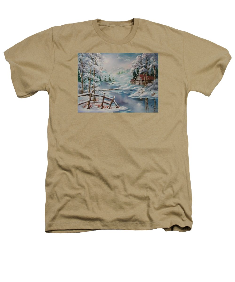 Winter Scapes Heathers T-Shirt featuring the painting Winter In The Valley by Irene Clarke