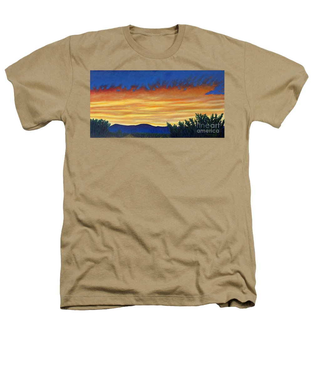 Sunset Heathers T-Shirt featuring the painting Winter Sunset In El Dorado by Brian Commerford
