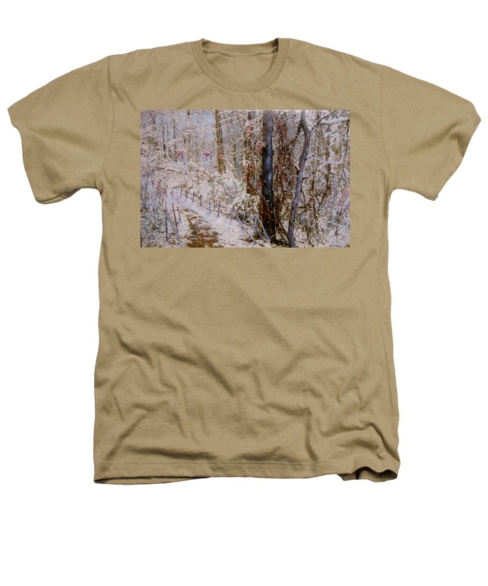 Snow; Trees Heathers T-Shirt featuring the painting Winter Wonderland by Ben Kiger