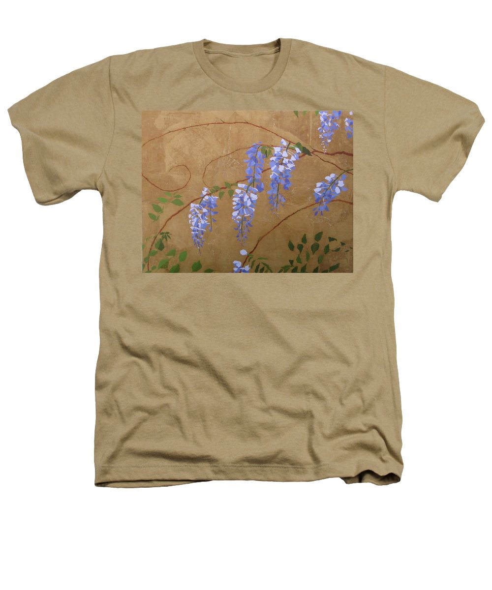 Periwinkle Wisteria Flowers Heathers T-Shirt featuring the painting Wisteria by Leah Tomaino