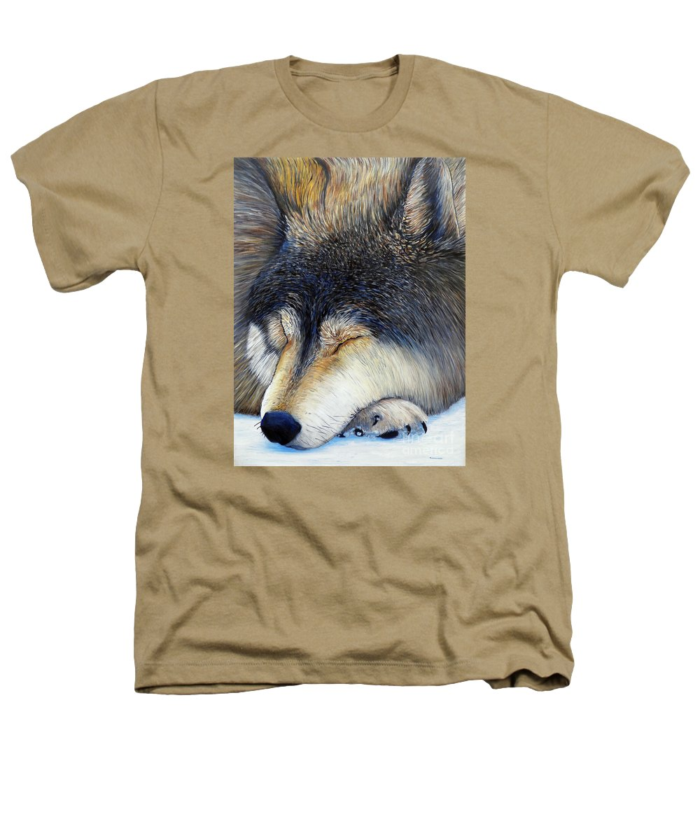 Wolf Heathers T-Shirt featuring the painting Wolf Dreams by Brian Commerford