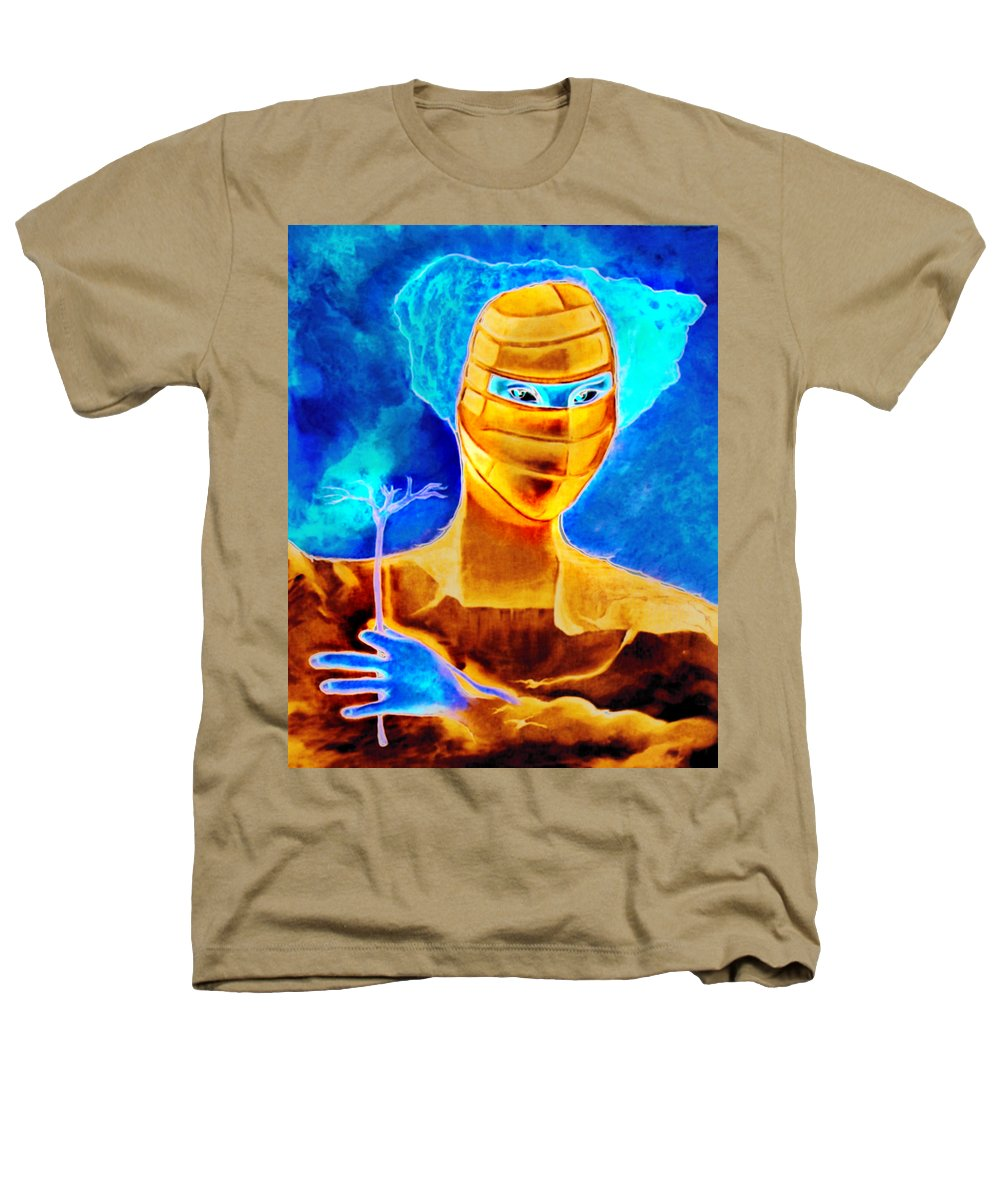Blue Woman Mask Mistery Eyes Heathers T-Shirt featuring the painting Woman In The Blue Mask by Veronica Jackson