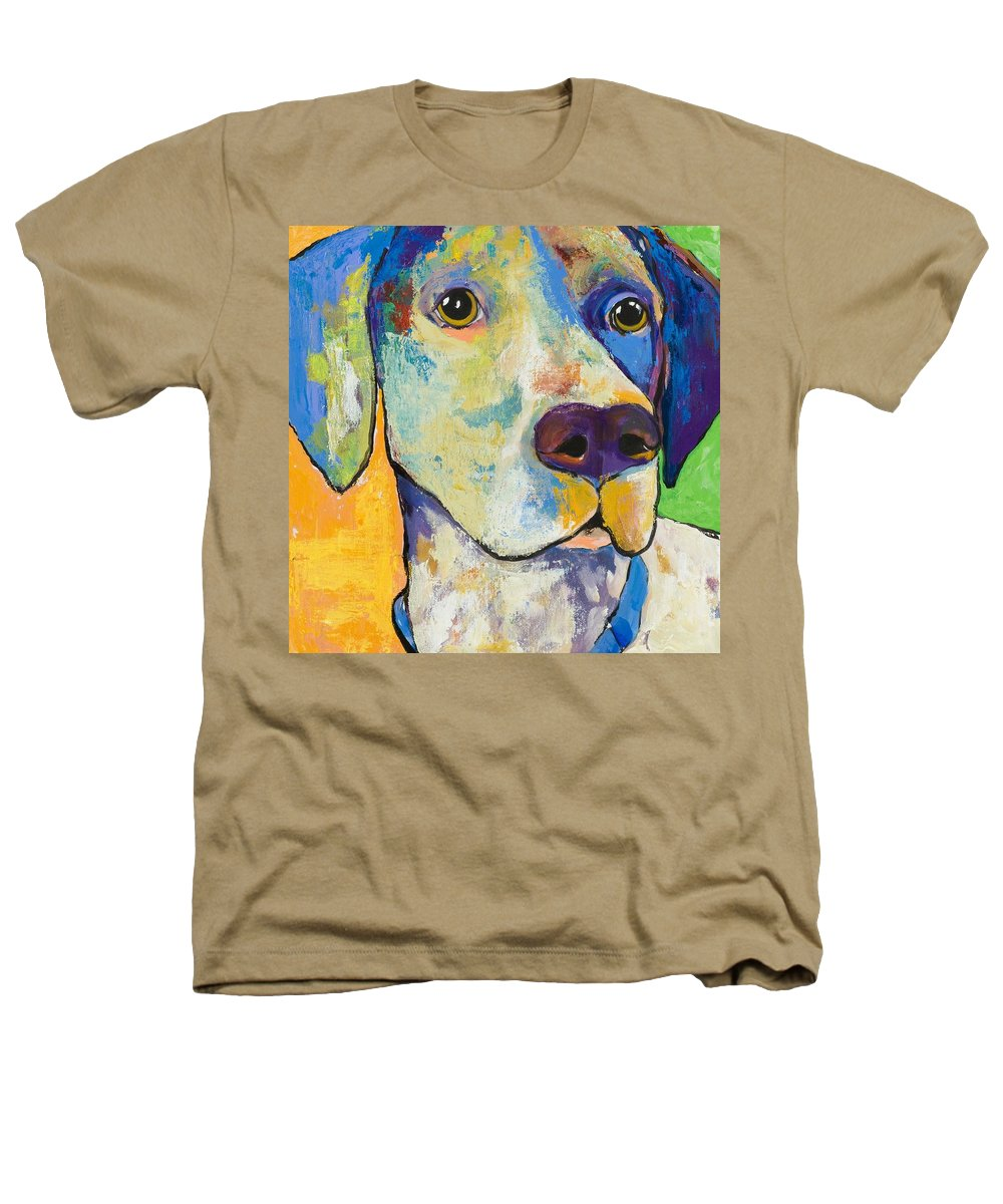German Shorthair Animalsdog Blue Yellow Acrylic Canvas Heathers T-Shirt featuring the painting Yancy by Pat Saunders-White