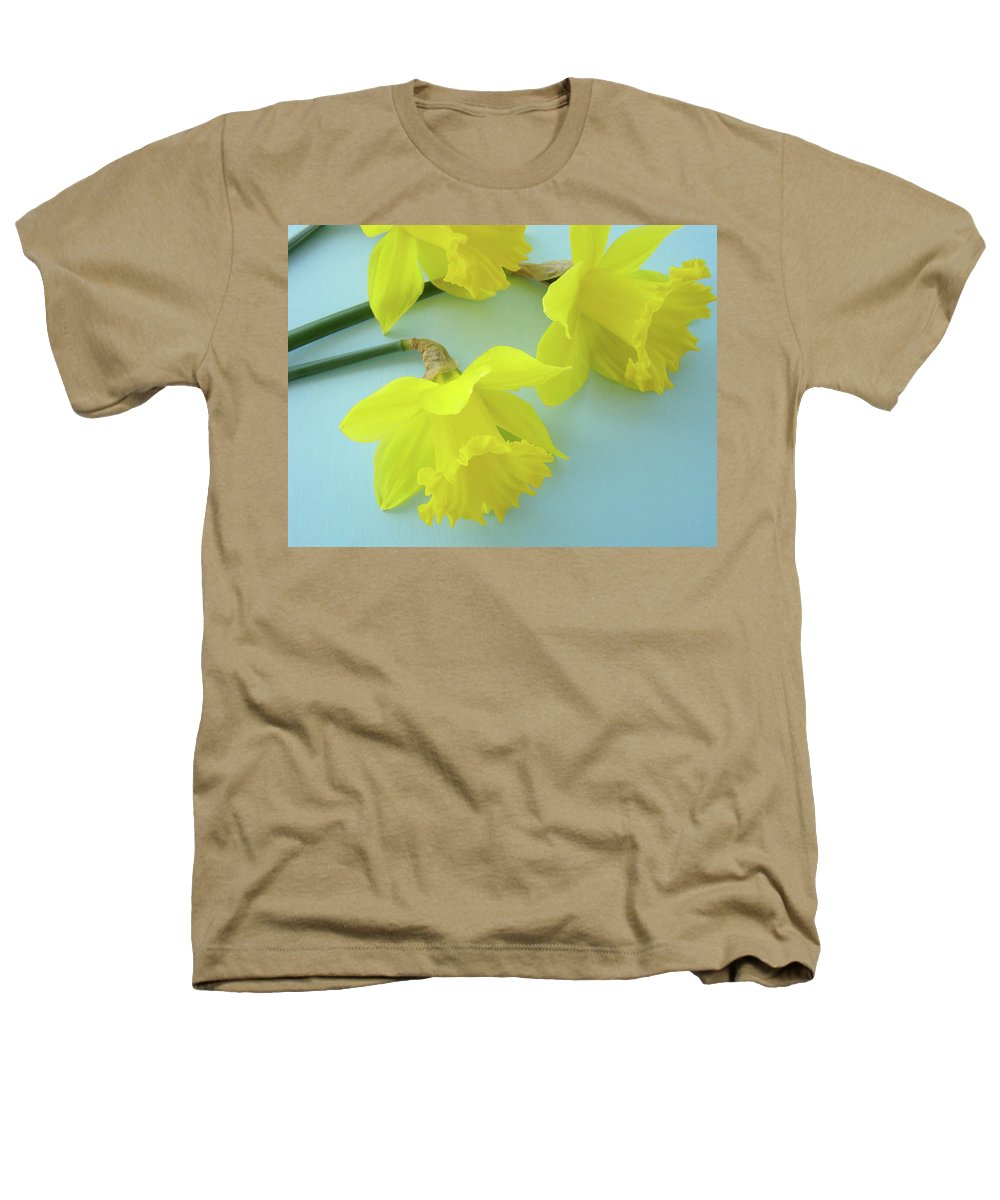 �daffodils Artwork� Heathers T-Shirt featuring the photograph Yellow Daffodils Artwork Spring Flowers Art Prints Nature Floral Art by Baslee Troutman