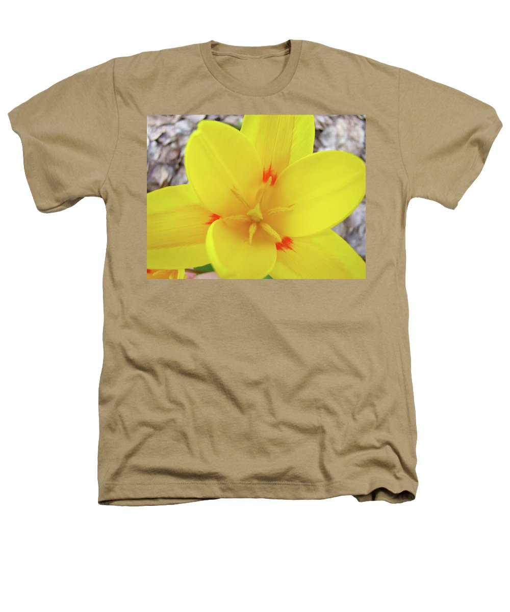 �tulips Artwork� Heathers T-Shirt featuring the photograph Yellow Tulip Flower Spring Flowers Floral Art Prints by Baslee Troutman