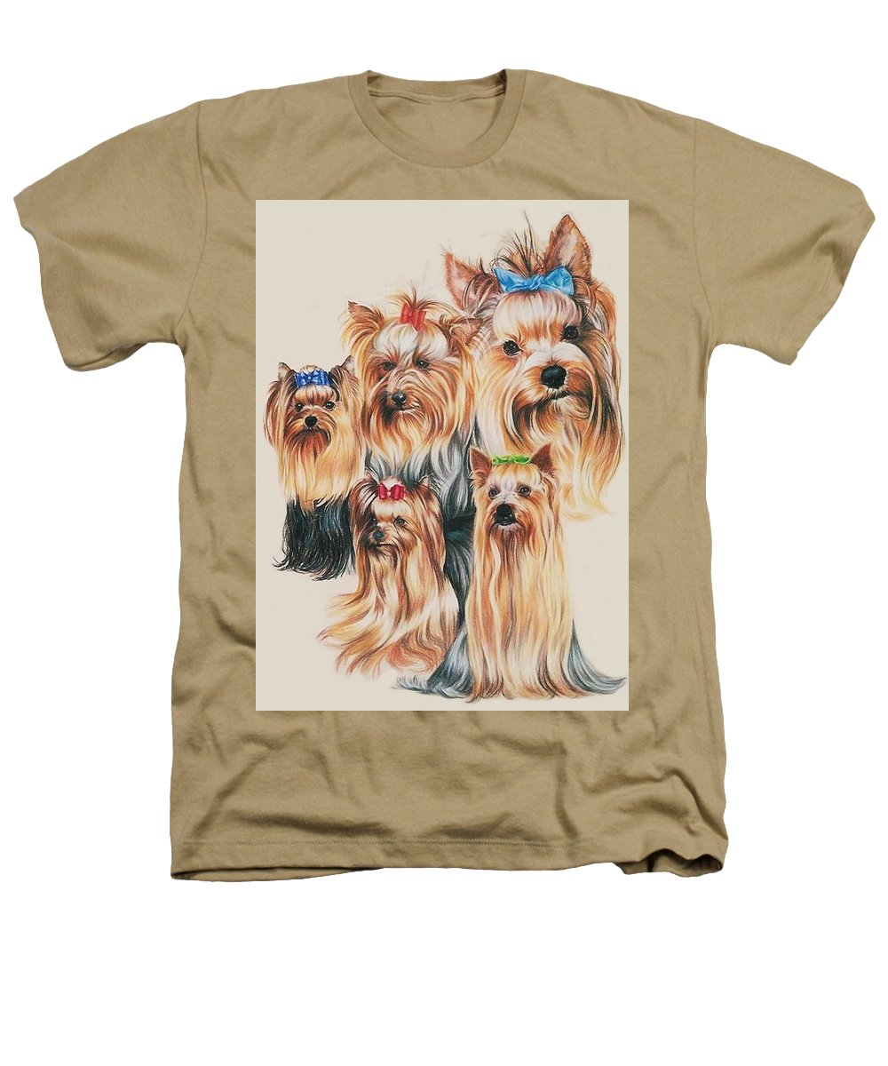 Purebred Heathers T-Shirt featuring the drawing Yorkshire Terrier by Barbara Keith