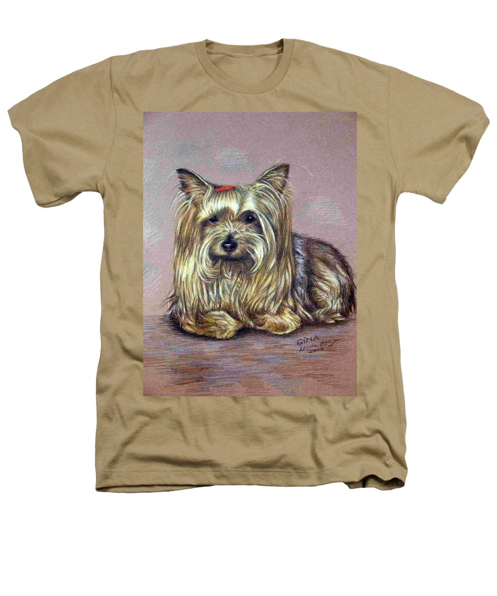 Dog Heathers T-Shirt featuring the drawing Yorkshire Terrier by Nicole Zeug