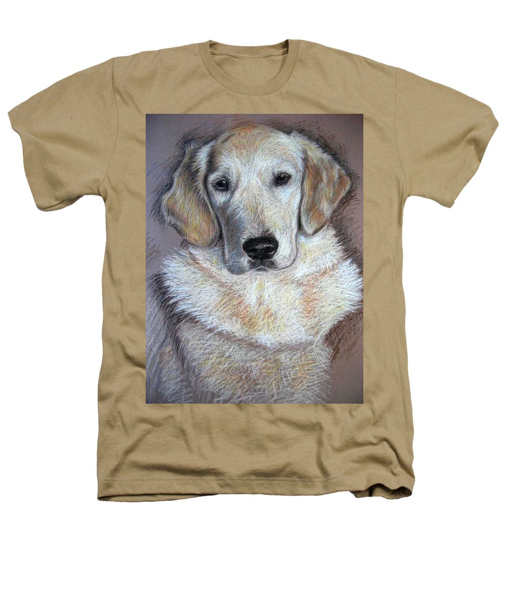 Dog Heathers T-Shirt featuring the pastel Young Golden Retriever by Nicole Zeug