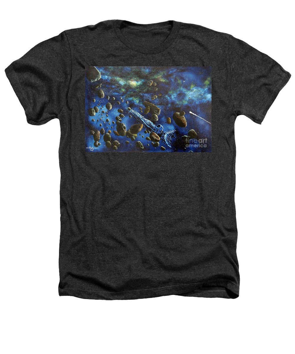 Canvas Heathers T-Shirt featuring the painting Accidental Asteroid by Murphy Elliott