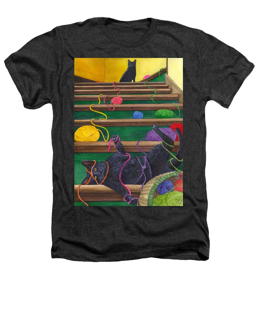 Cat Heathers T-Shirt featuring the painting All Caught Up by Catherine G McElroy