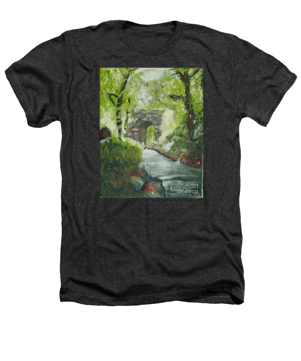 New York Heathers T-Shirt featuring the painting Archway In Central Park by Laurie Morgan