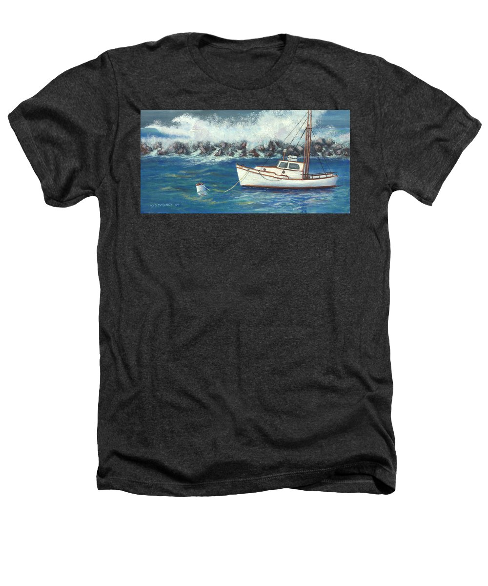 Ocean Heathers T-Shirt featuring the painting Behind The Breakwall by Jerry McElroy