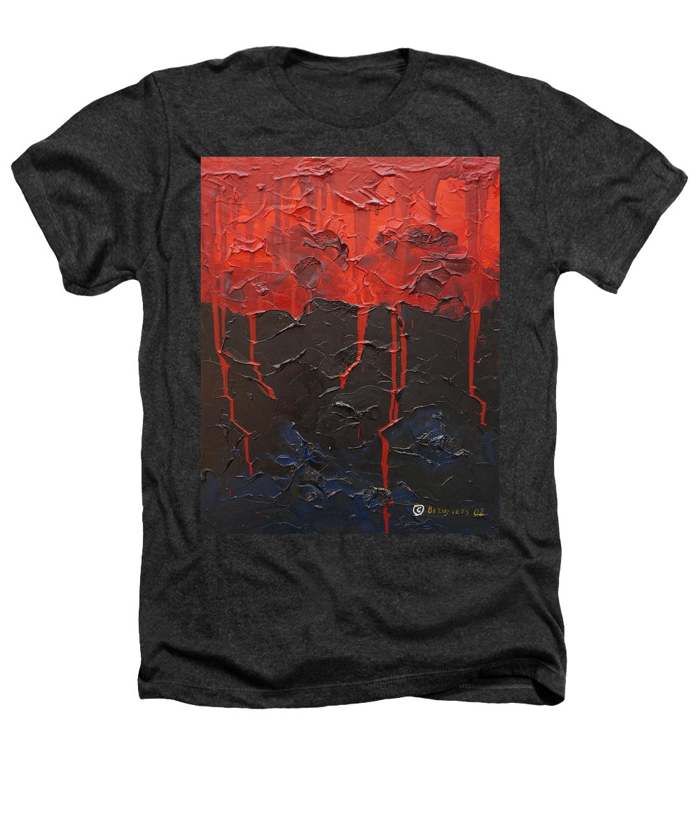 Fantasy Heathers T-Shirt featuring the painting Bleeding Sky by Sergey Bezhinets