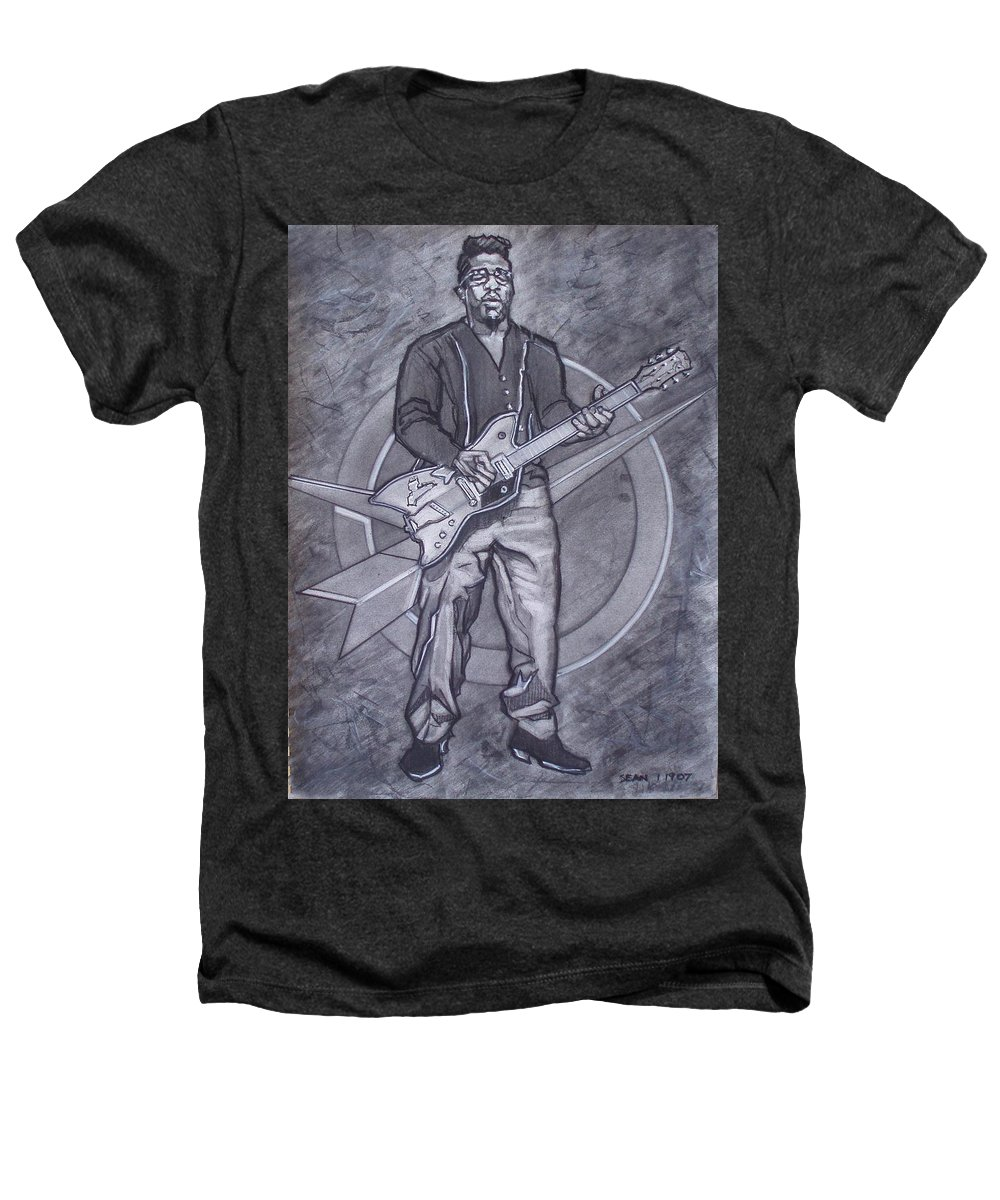 Texas;charcoal;king Of Rock;rock And Roll;music;1950s;blues;musician;funk;electric Guitar;marble;soul Heathers T-Shirt featuring the drawing Bo Diddley - Have Guitar Will Travel by Sean Connolly