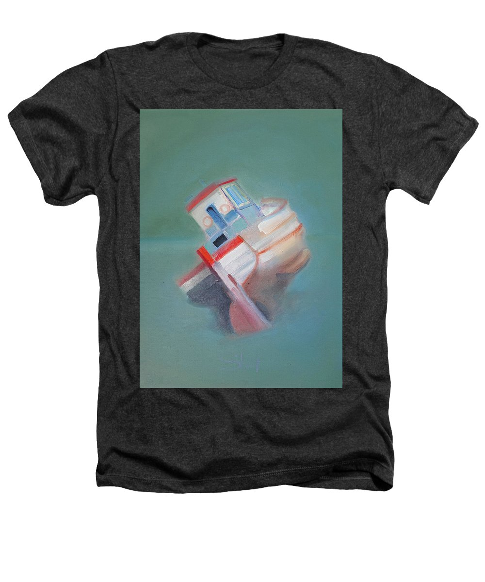 Fishing Boat Heathers T-Shirt featuring the painting Boat Retired Tavira by Charles Stuart