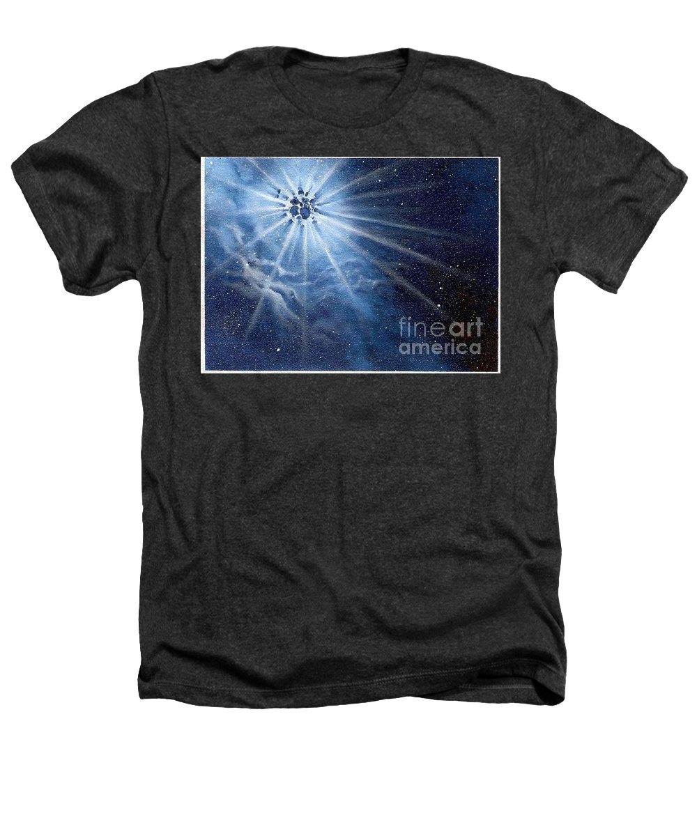 Outerspace Heathers T-Shirt featuring the painting Burst Of Light by Murphy Elliott