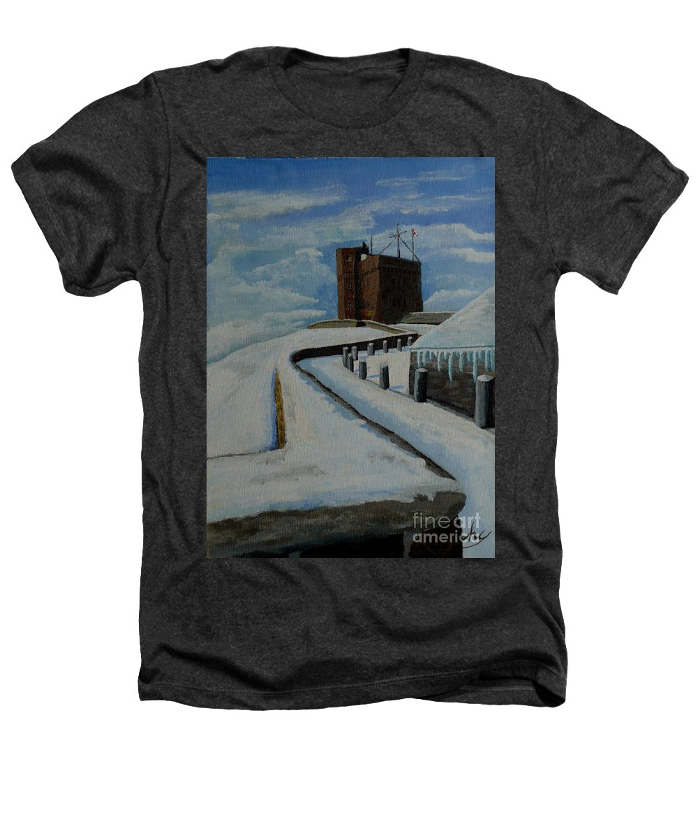 Landscape Heathers T-Shirt featuring the painting Cabot Tower Newfoundland by Anthony Dunphy