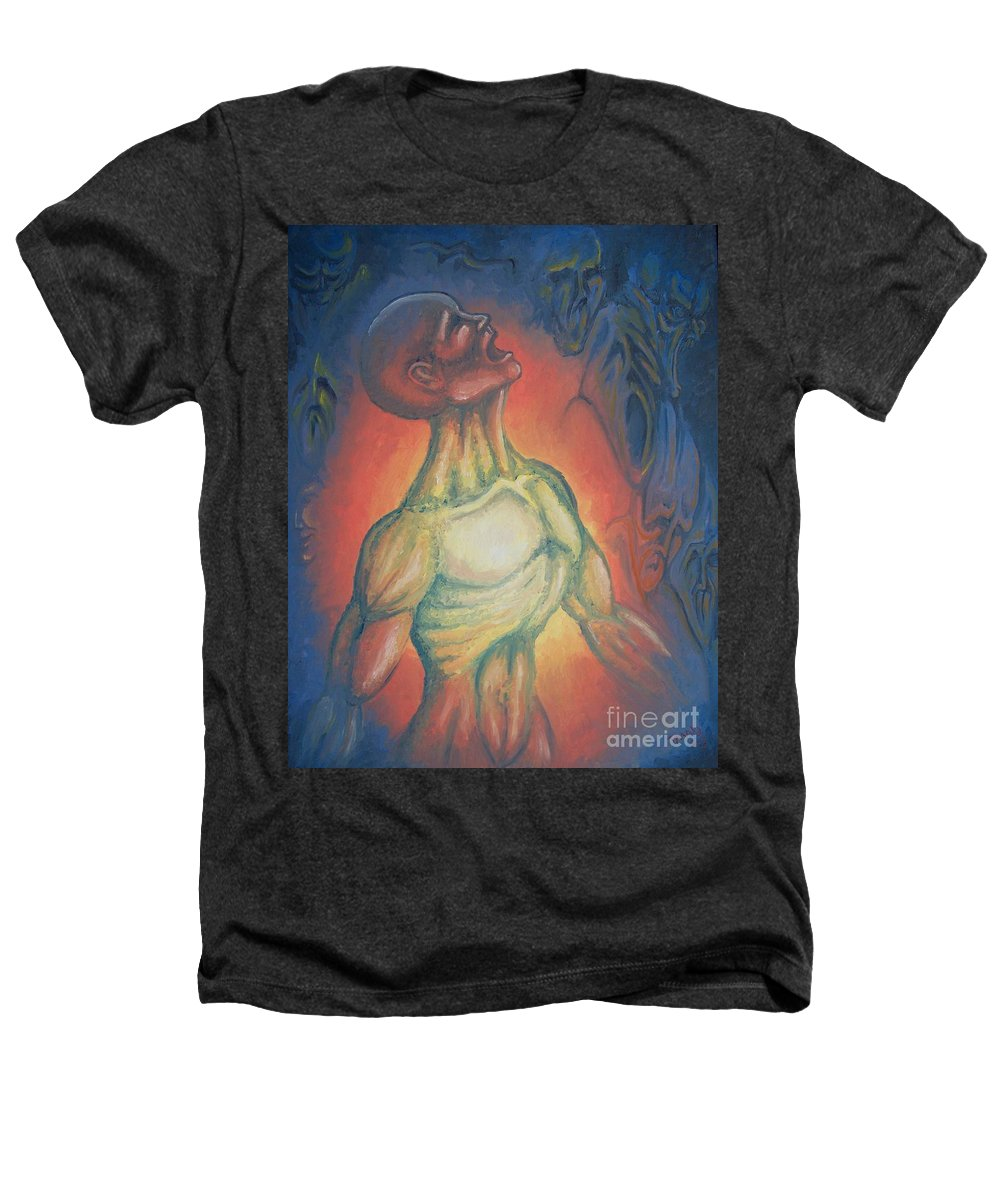 Tmad Heathers T-Shirt featuring the painting Center Flow by Michael TMAD Finney