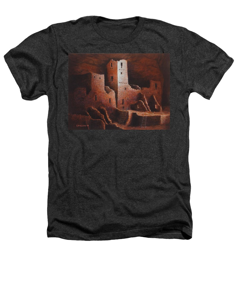 Anasazi Heathers T-Shirt featuring the painting Cliff Palace by Jerry McElroy