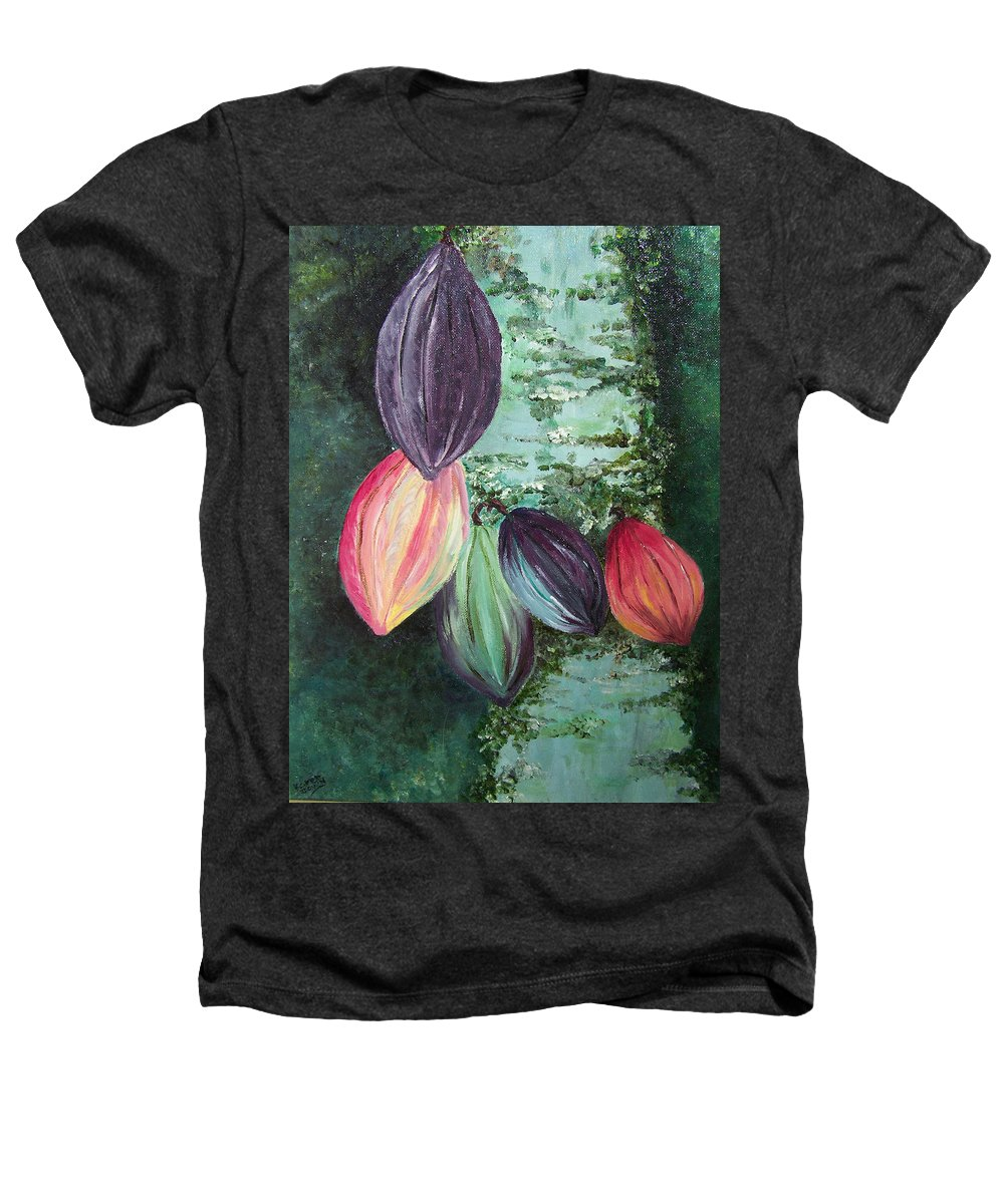 Cocoa On The Tree Heathers T-Shirt featuring the painting Cocoa Pods by Karin Dawn Kelshall- Best