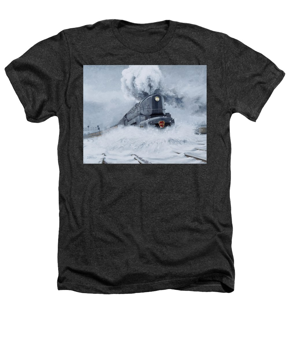 Trains Heathers T-Shirt featuring the painting Dashing Through The Snow by David Mittner