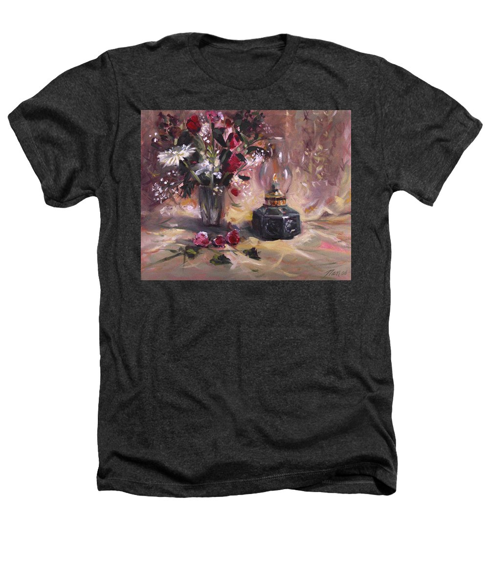 Flowers Heathers T-Shirt featuring the painting Flowers With Lantern by Nancy Griswold