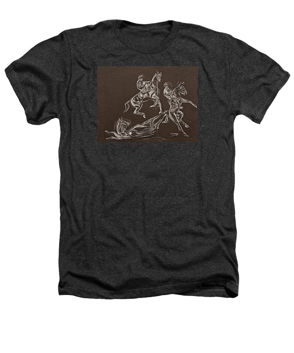 Rearing Horse Heathers T-Shirt featuring the drawing Ghost Riders In The Sky by Tom Conway