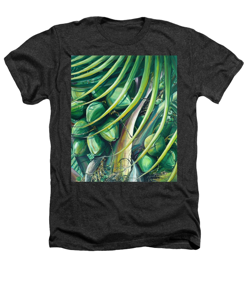 Coconut Painting Caribbean Painting Coconuts Caribbean Tropical Painting Palm Tree Painting  Green Botanical Painting Green Painting Heathers T-Shirt featuring the painting Green Coconuts 2 by Karin Dawn Kelshall- Best