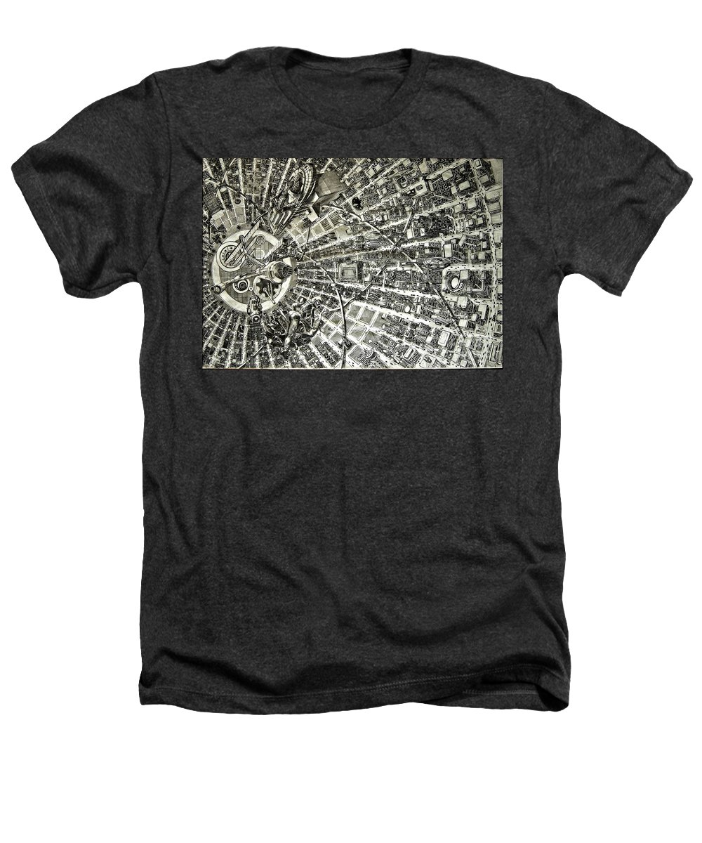 Cityscape Heathers T-Shirt featuring the drawing Inside Orbital City by Murphy Elliott