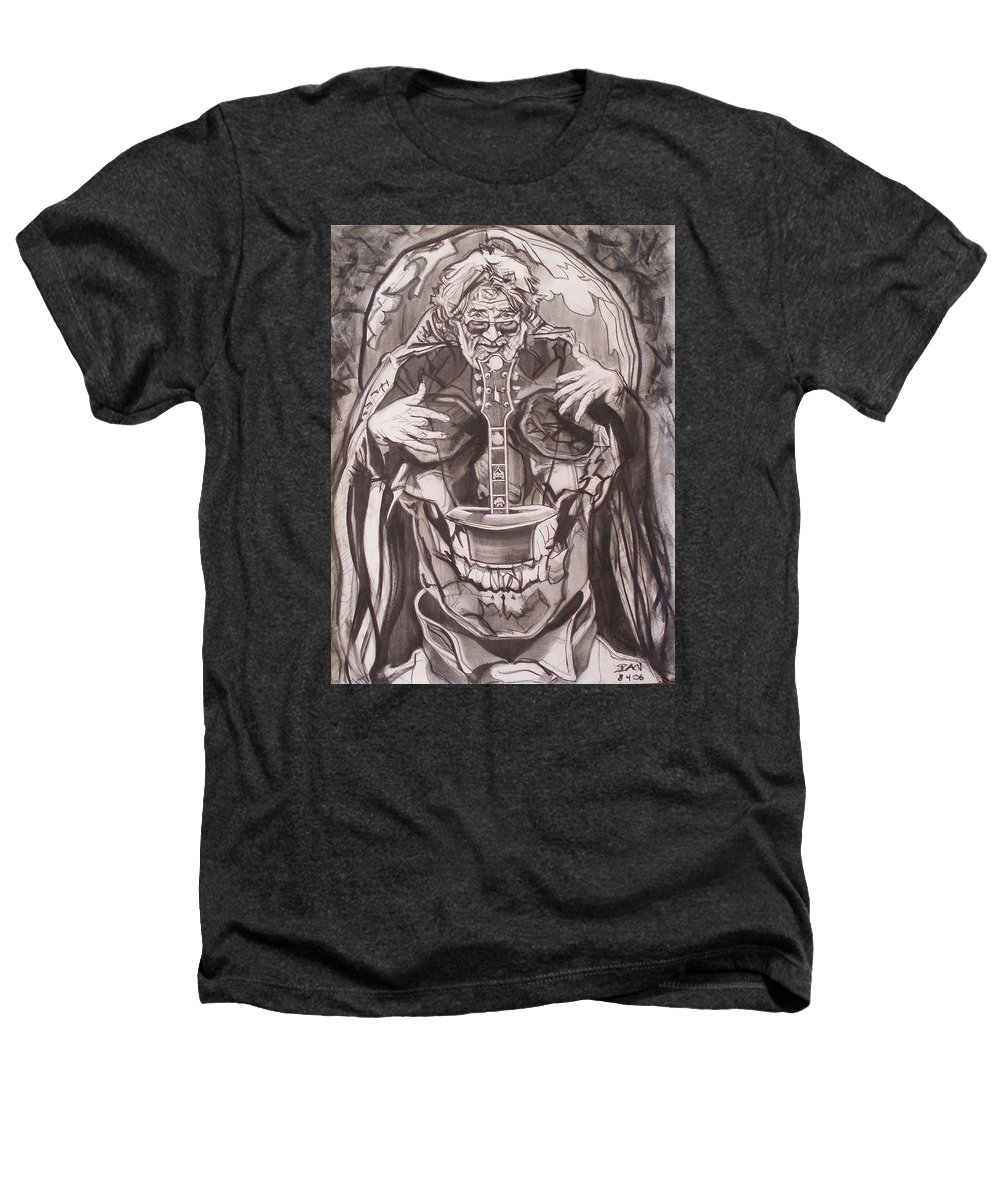 Charcoal; Skull;guitar;music;magic;mystic;wizard;cape;hat;shades;grateful Dead;deadheads Heathers T-Shirt featuring the drawing Jerry Garcia . . Magic Is What We Do - Music Is How We Do It by Sean Connolly