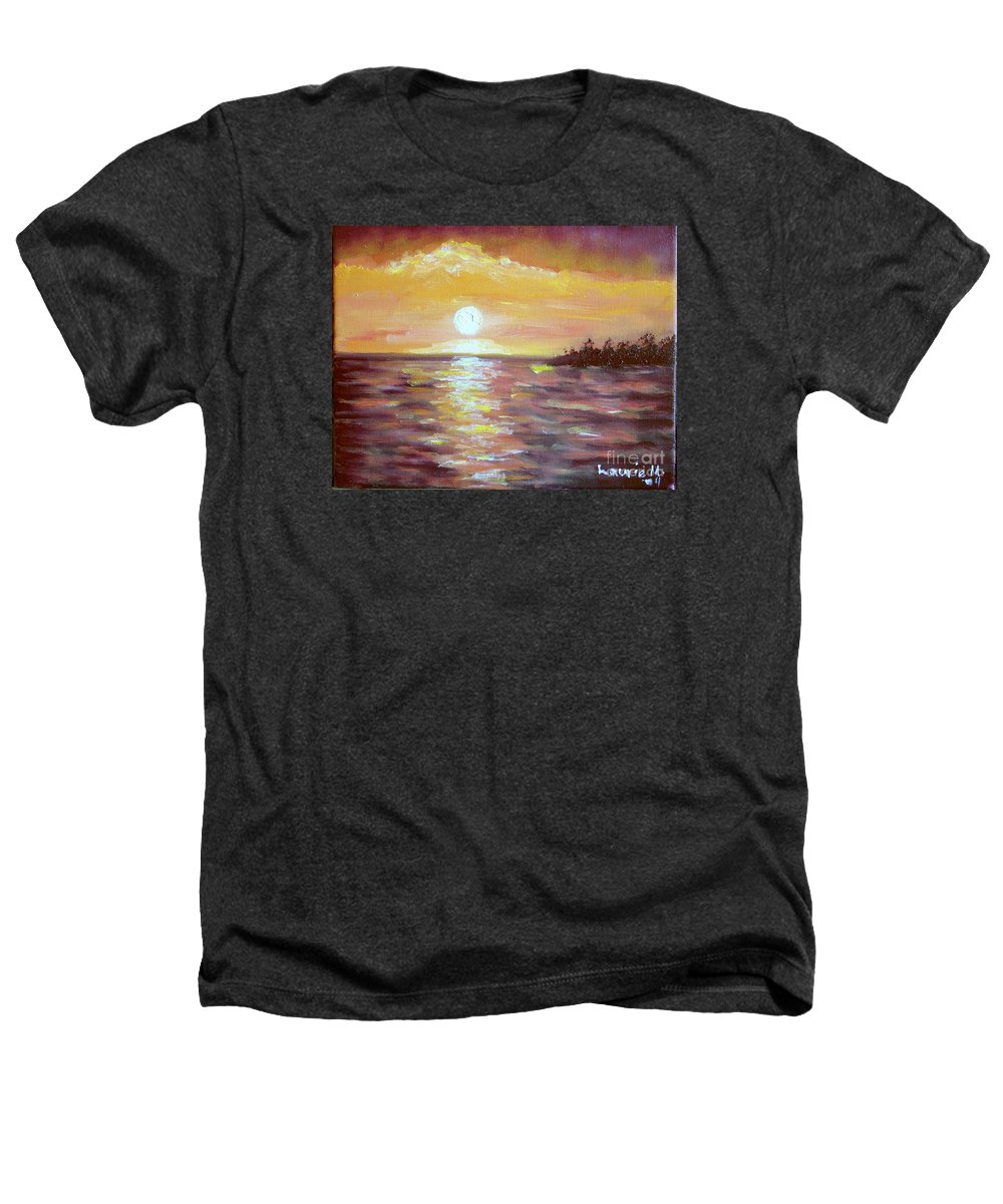 Sunset Heathers T-Shirt featuring the painting Kona Sunset by Laurie Morgan