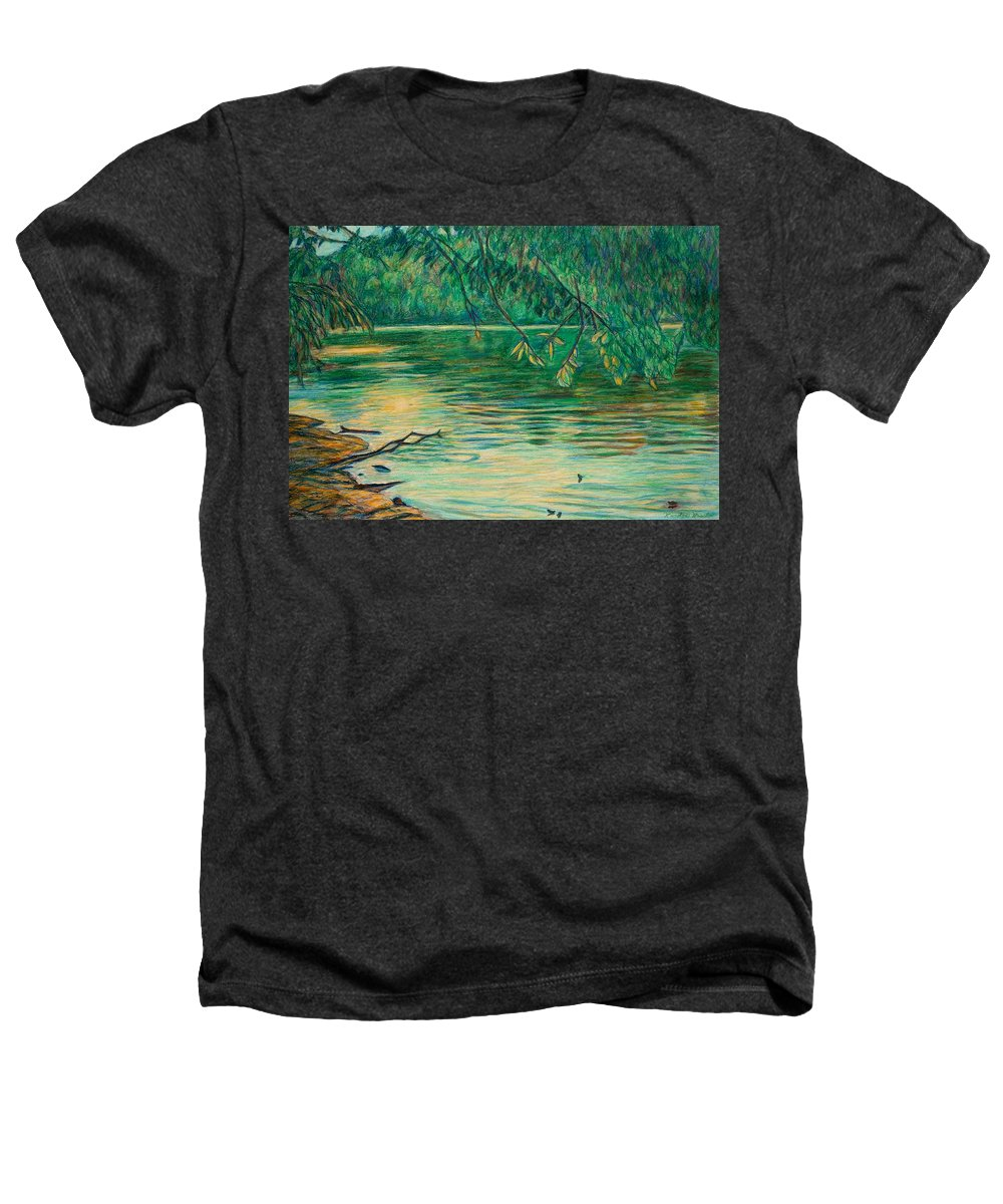 Landscape Heathers T-Shirt featuring the painting Mid-spring On The New River by Kendall Kessler