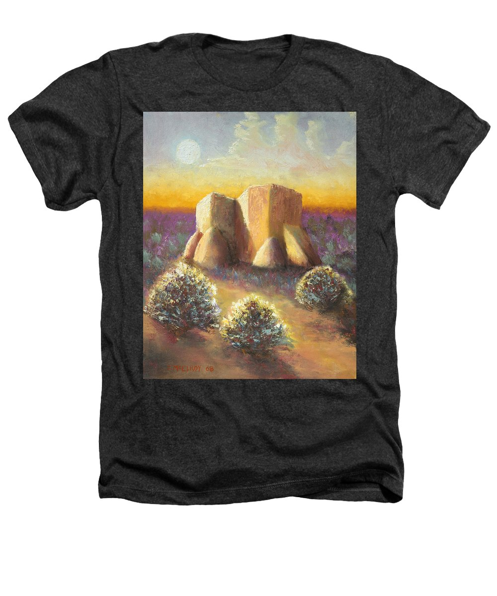 Landscape Heathers T-Shirt featuring the painting Mission Imagined by Jerry McElroy