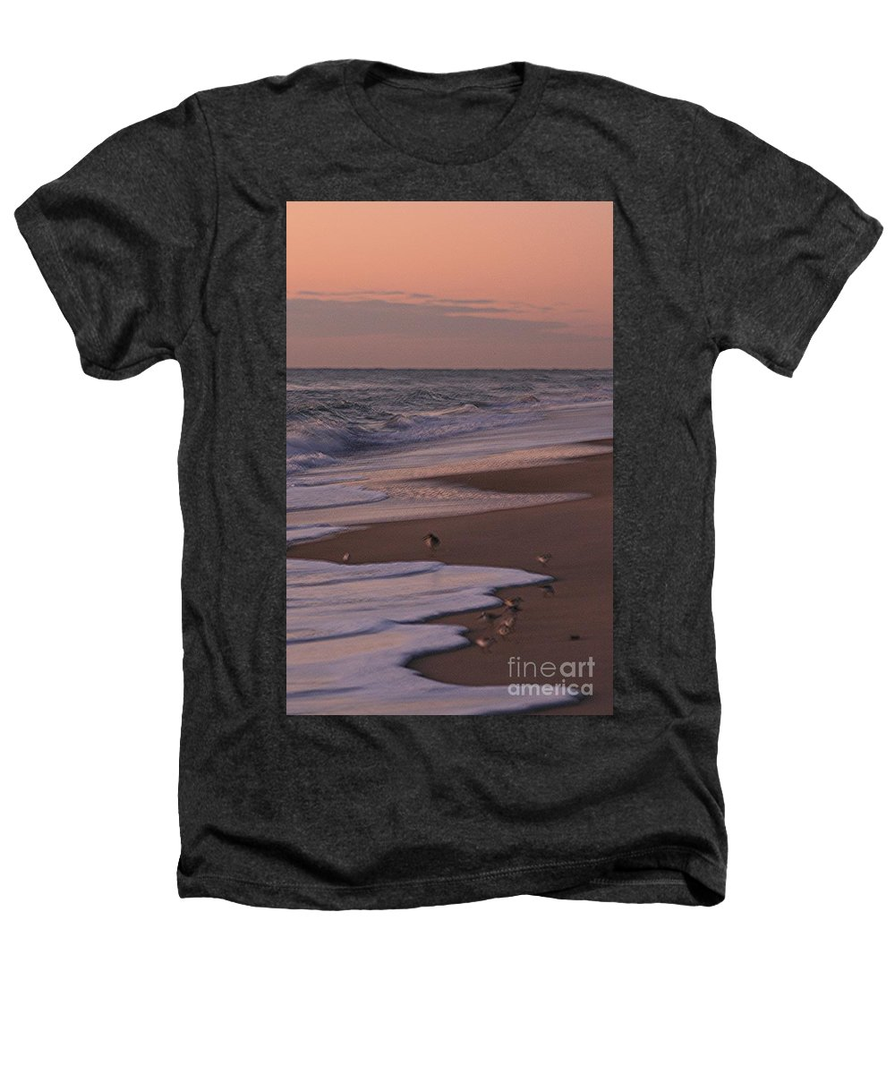 Beach Heathers T-Shirt featuring the photograph Morning Birds At The Beach by Nadine Rippelmeyer