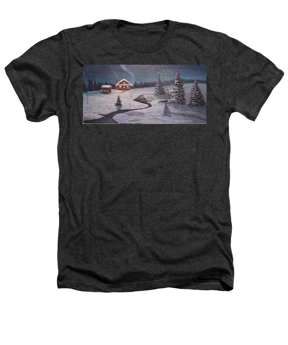 Rick Huotari Heathers T-Shirt featuring the painting North Woods Cabin by Rick Huotari
