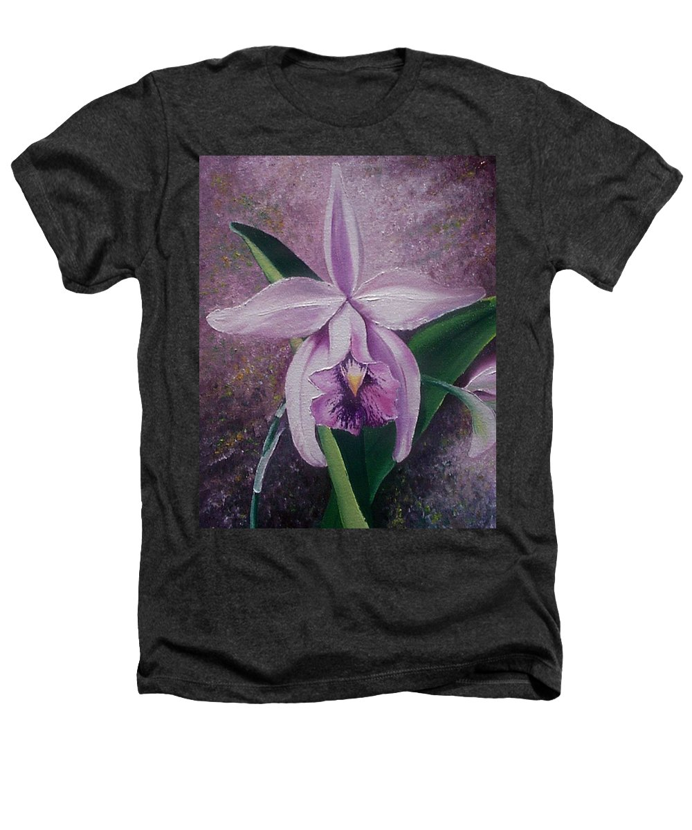 Orchid Purple Floral Botanical Heathers T-Shirt featuring the painting Orchid Lalia by Karin Dawn Kelshall- Best