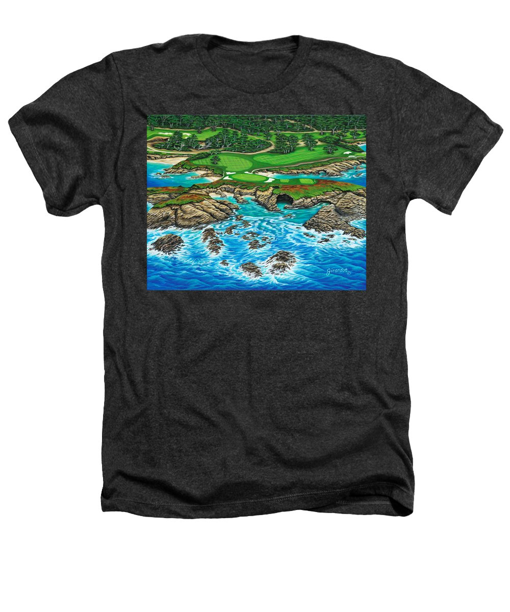 Ocean Heathers T-Shirt featuring the painting Pebble Beach 15th Hole-north by Jane Girardot