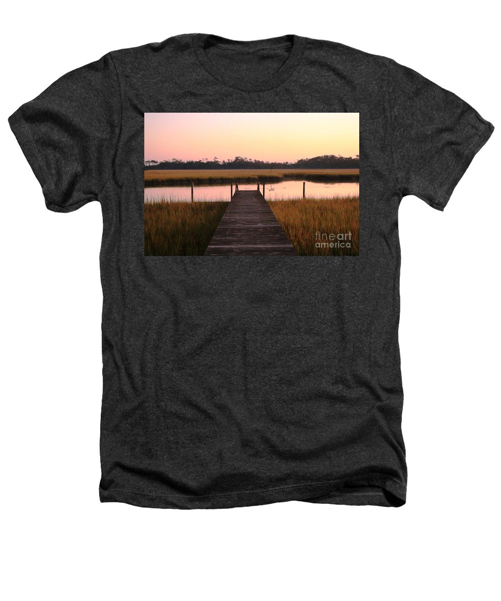Pink Heathers T-Shirt featuring the photograph Pink And Orange Morning On The Marsh by Nadine Rippelmeyer
